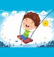 kid swinging vector image vector image