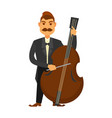 man with moustache playing contrabass isolated on vector image vector image
