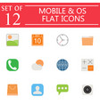 mobile and os flat icon set symbols collection vector image