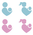 Mom and baby icon parents heart shape vector image