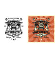 motorcycle front view vintage style emblem vector image