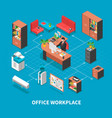 office workplace background concept vector image