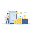 online money transfer tiny man standing with vector image
