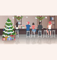 people in santa hats sitting on stools at cafe vector image vector image