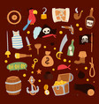 pirate stickers icons collection adventure vector image vector image