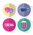 popcorn with set icons cinema vector image