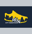 poster - running sport shoe and the city vector image vector image