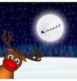 Reindeer peeking sideways in the forest vector image vector image