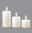 round candle flame fire light set realistic vector image