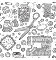 seamless pattern with needlework tools sewing vector image vector image