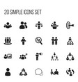 set of 20 editable team icons includes symbols vector image