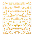 set of gold textured hand drawn vignettes vector image vector image