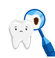 sick tooth with caries vector image