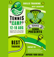 tennis rackets and balls sport camp vector image vector image