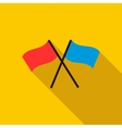 Two crossed flags icon flat style vector image