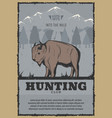 vintage poster for buffalo hunt vector image vector image