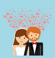 wedding couple lovely invitation hearts decoration vector image vector image