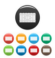 wooden peak fence icons set color vector image vector image
