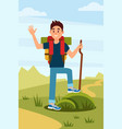 young hiker waving hand tourist with backpack and vector image vector image