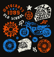 Motorcycling elements in hand drawn style vector image
