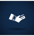 Bank credit card with hand vector image