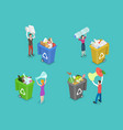 3d isometric flat concept colored waste vector image