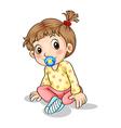 A toddler with a pacifier vector image vector image