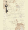 abstract coffee background with cup and key vector image vector image