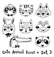 avatars funny animal faces sloth tiger wolf alpaca vector image vector image