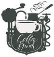 banner with a coffee cup and retro coffee machine vector image vector image