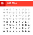 bbq grill line web glyph icons vector image vector image