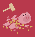 Broken Piggy bank with hammer saving money vector image vector image