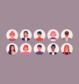 bundle different people avatars set of vector image