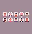 bundle different people avatars set vector image vector image