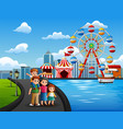 cartoon of family vacation with amusement park bac vector image vector image