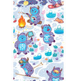 cartoon yetis seamless pattern wallpaper vector image vector image