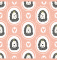 childish seamless pattern with cute hedgehog vector image