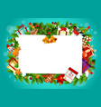 christmas holiday frame with toys and gifts vector image
