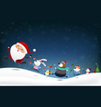 christmas snowman santa claus and animal cartoon vector image