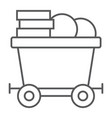 coins on mine trolley thin line icon finance vector image vector image