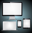 Computer display laptop tablet pc and mobile phone vector image