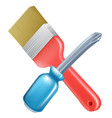 crossed screwdriver and paintbrush tools vector image vector image