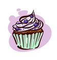 cupcake with blue berries and cream vector image
