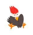 cute funny woodpecker bird cartoon character vector image vector image
