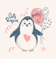 cute penguin print design for kid t-shirtsdress vector image vector image