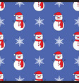 cute snowman blue seamless pattern background vector image vector image