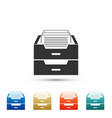 drawer with documents icon archive papers drawer vector image vector image
