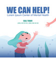 drowning woman help in depression banner vector image
