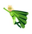 ecological superhero blonde woman in green costume vector image vector image