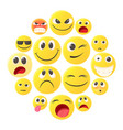 emoticon icons set cartoon style vector image